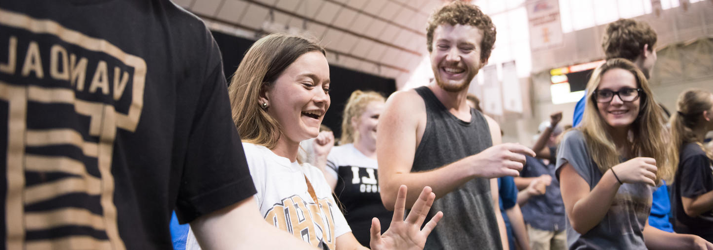 Students dancing in the Kibbie Dome